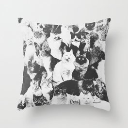 Cats Forever B&W Throw Pillow