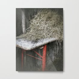 Old German ale-bench with hay on it Metal Print