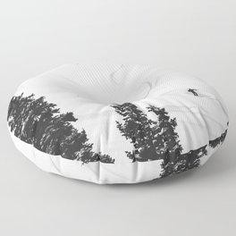 Backcountry Skier // Fresh Powder Snow Mountain Ski Landscape Black and White Photography Vibes Floor Pillow