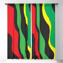 Red Yellow Green Black Rasta Wave Blackout Curtain