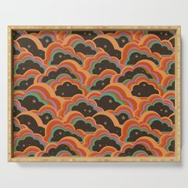 Retro 70s Inspired Boho Rainbow Clouds Pattern Serving Tray