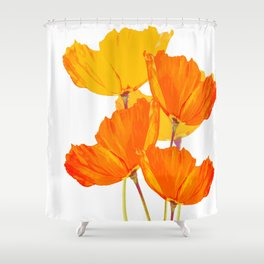 Orange and Yellow Poppies On A White Background #decor #society6 #buyart Shower Curtain