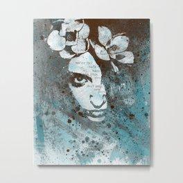Blue Hypothermia (flower woman graffiti painting) Metal Print