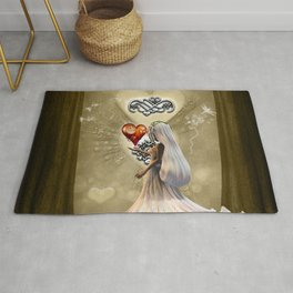 Little girl with hearts Rug