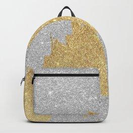 Chic glam silver gold glitter elegant brushstrokes  Backpack