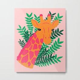 Giraffe - pink and green Metal Print