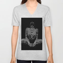 1152-MAK Abstract Nude Black & White Zebra Striped Woman Topographic Feminine Body Unisex V-Neck