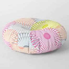Vintage Geometric Floral Composition - Green, Orange & Pink Floor Pillow