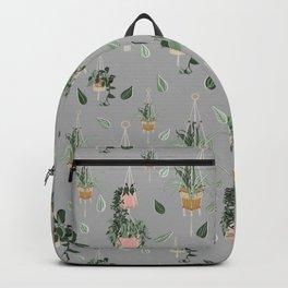 Modern Boho Macrame Plant Hangers Pattern Grey Backpack