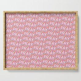 'Pray' Trendy Rainbow Text Pattern (Pink) Serving Tray
