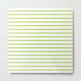 Horizontal Green Stripes Pattern Metal Print