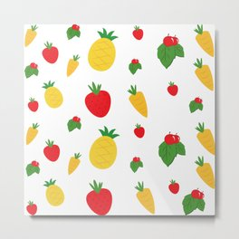 Vibrant Fresh Fruit Salad Collage Metal Print