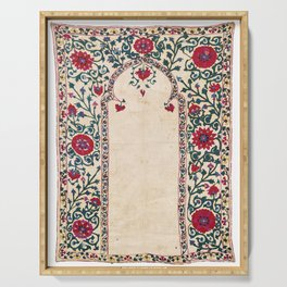 Shakhrisyabz Suzani Joynamoz Uzbekistan Floral Embroidery Print Serving Tray