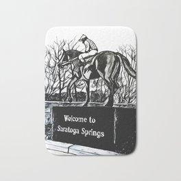 """Native Dancer"" Saratoga Springs, Thoroughbred Racehorse, Kentucky Derby, Equine Horse Artwork Bath Mat"