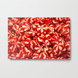 Confectionery of red and white colors with lines. Sweets two colors striped. Metal Print
