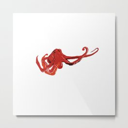 Red octopus Sea Life Metal Print
