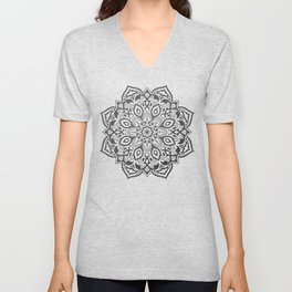 Elegant silver grey mandala on black Unisex V-Neck