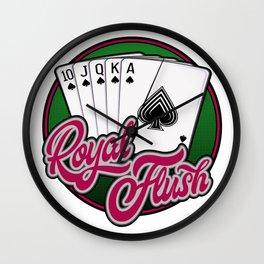 Royal Flush poker hand Wall Clock