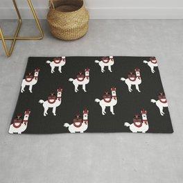 Christmas Llama Pattern on black Rug