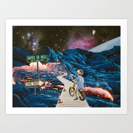 A Leisurely Ride to Hell #analog #collage Art Print