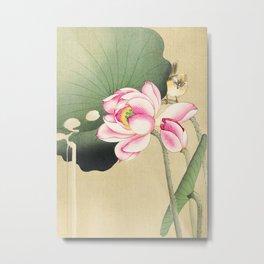 Bird sitting on lotus flower  - Vintage Japanese Woodblock Print Art Metal Print