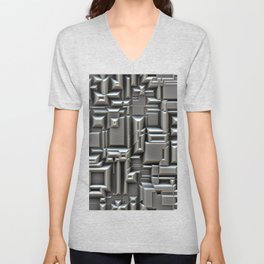 Brushed Metal 3D Pattern Unisex V-Neck
