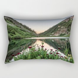 Natures Bouquet // Green and Red Floral Foreground Mountain and Moon Reflection Rectangular Pillow