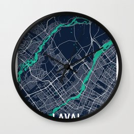 Laval Blue Dark Color City Map Wall Clock