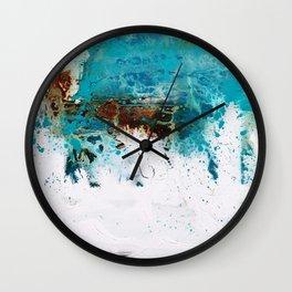 Teal brown art by Matt LeBlanc Art Wall Clock