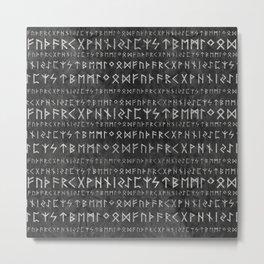 Elder Futhark Pattern on wooden texture Metal Print