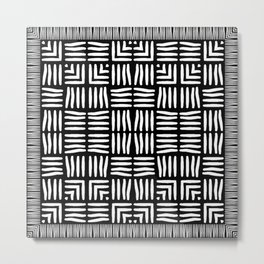 Geometric Black and White Tribal-Inspired Woven Pattern Metal Print