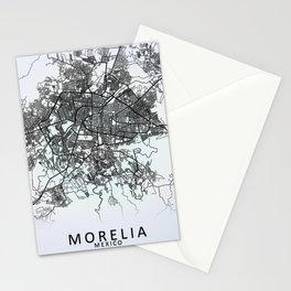 Morelia, Michoacán, Mexico, White, City, Map Stationery Cards