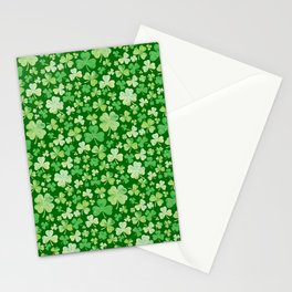 Lucky Green Watercolour Shamrock Pattern Stationery Cards