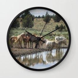 Wild Horses and Biting Flies Wall Clock