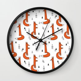 Cute Graphic Ginger Foxes Wall Clock