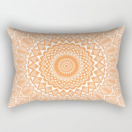 Orange Tangerine Mandala Detailed Textured Minimal Minimalistic Rectangular Pillow