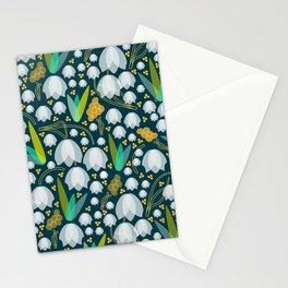 Geometric Snowdrop Flower Pattern Stationery Cards