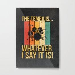 Drummer Vintage Retro Design Metal Print