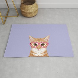 Mackenzie - Orange Tabby Cute Hipster Glasses Kitten Lavender Pastel Girly Retro Cat Art cell phone Rug