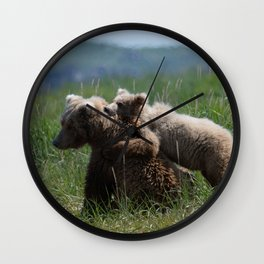 Alaska Grizzly Mother And A Cub In Katmai National Park Wall Clock