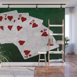 Poker Straight Flush Hearts Wall Mural