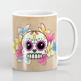 Calavera con Flores - Sugar Skull with Frangipani Flowers Coffee Mug