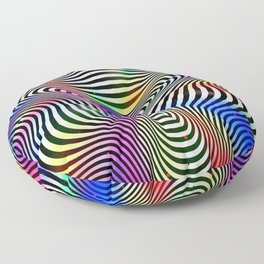 Holographic hypnotic pattern. Colorful iridescent effect. Floor Pillow