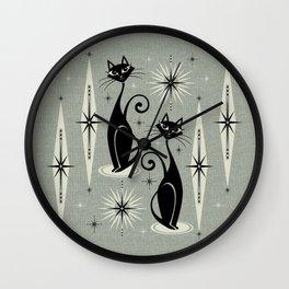 Mid Century Meow Retro Atomic Cats - Gray Wall Clock