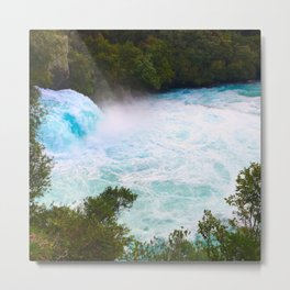Huka Falls Waterfall Metal Print