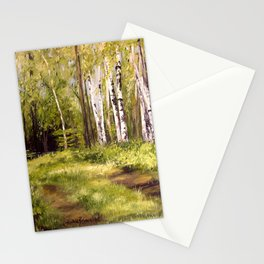 Birch Trees Nature Landscape Oil Painting Stationery Cards