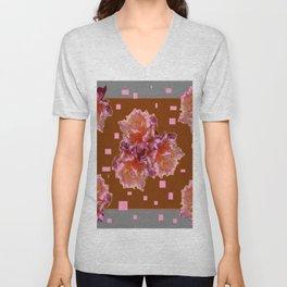 Grey Color & Coffee Brown Pink color old Rose flowers Pattern Ar Unisex V-Neck