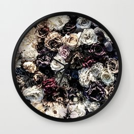 Flower Wall // Desaturated Vintage Floral Accent Background Jaw Dropping Decoration Wall Clock