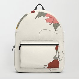 Colorful Thoughts Minimal Line Art Woman with Hibiscus Backpack