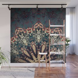 Teal Beige Textured Half Mandala Wall Mural